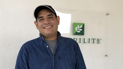 Alberto Vega in the offices of the Jaliscon sustainable NUTRILITE farm.